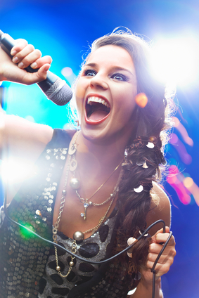 Girl singing a high note