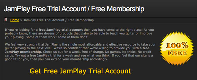 Free trial of JamPlay