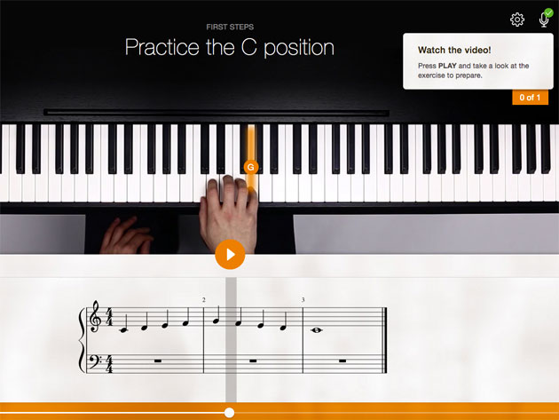 practice the c position with flowkey