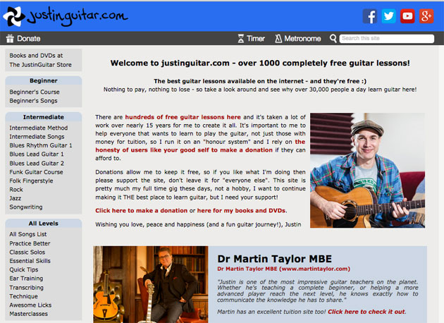 Justin Guitar Home Page