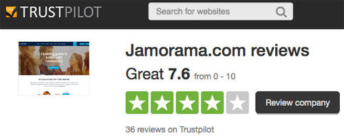 Jamorama customer reviews on Trust Pilot