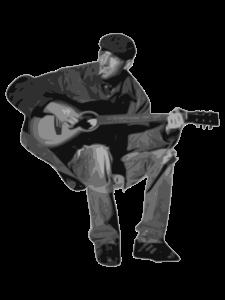 Senior man playing the guitar