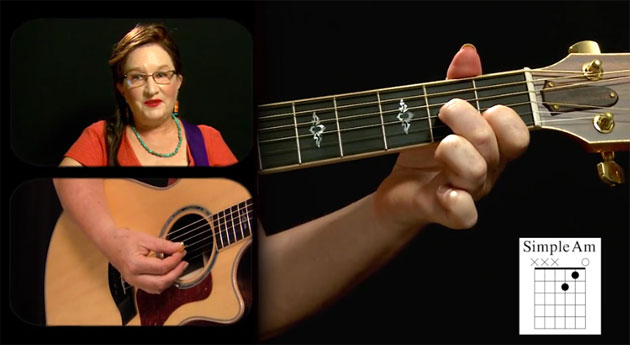 simple a minor guitar chord