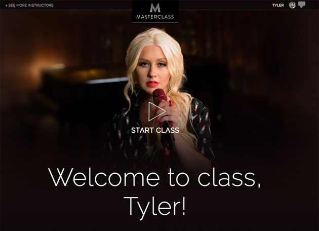 Welcome image to Christina Aguilera's Masterclass