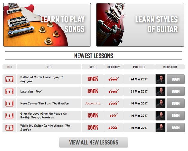 Song and genre lessons offered at Guitar Tricks