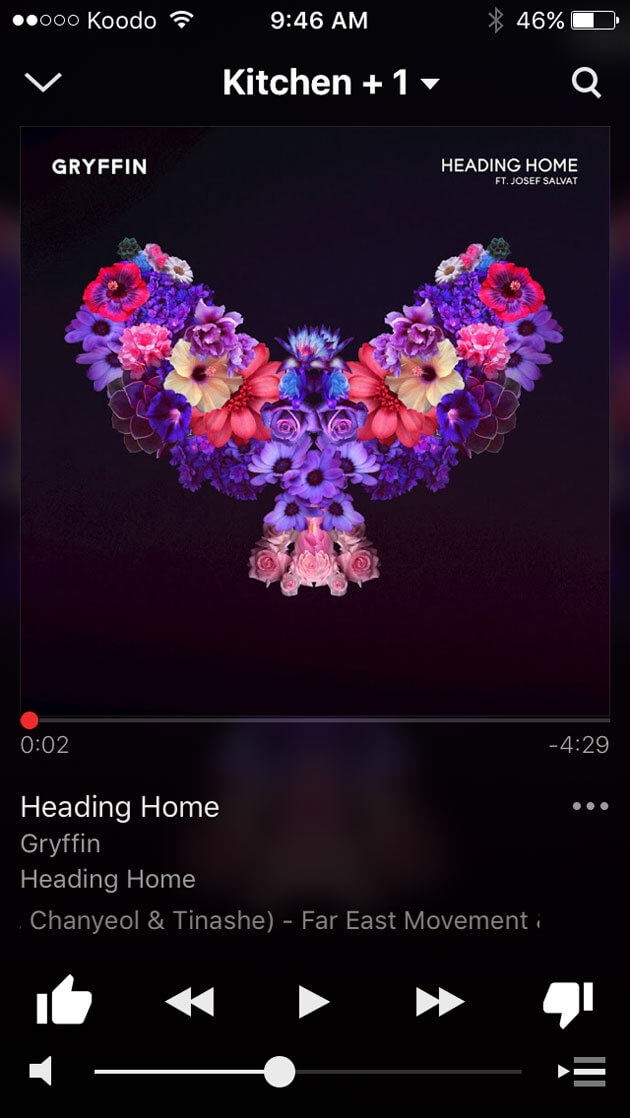 SONOS app playing a song