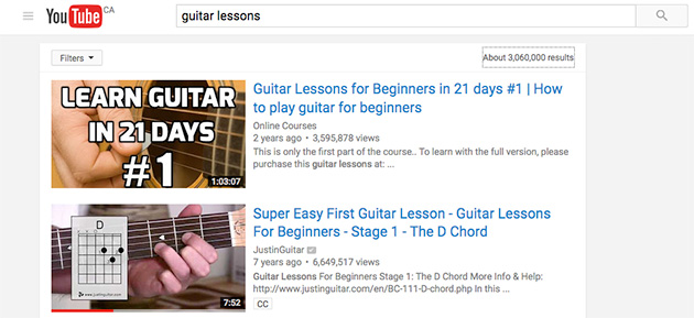guitar lessons on youtube