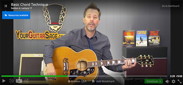 Udemy guitar course