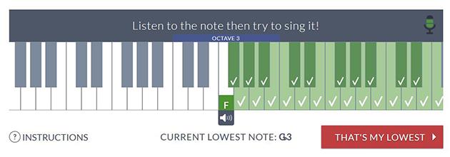 vocal range finder for lowest note