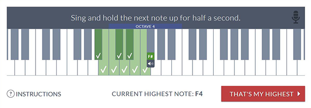 vocal range finder for highest note