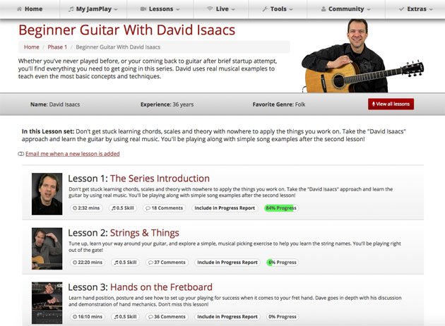 JamPlay lessons with David Isaacs