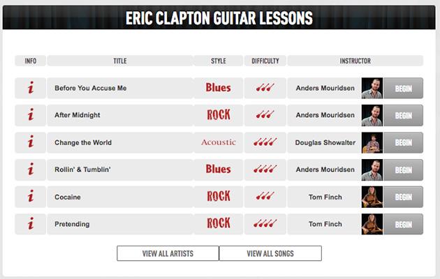 Eric Clapton guitar lessons