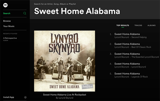 sweet home alabama songs at spotify