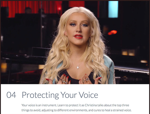 Protecting your voice lesson from Christina Aguilera's MASTERCLASS singing course
