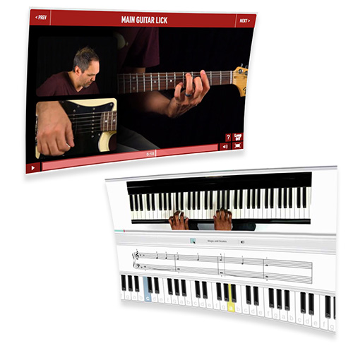 online video lessons of guitar and piano
