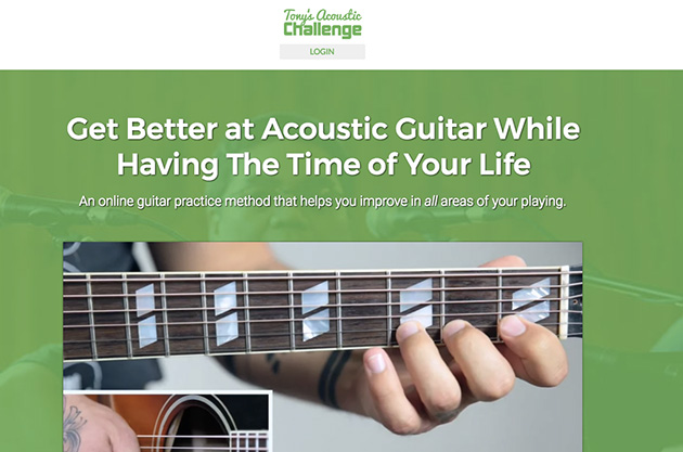 homepage screenshot of Tony's Acoustic Challenge